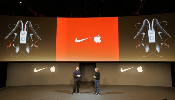 Nike CEO Mark Parker and Apple CEO Steve Jobs during the May23, 2006 unveiling of a partnership between Nike and Apple. Photo by Mike Ehrmann/WireImage